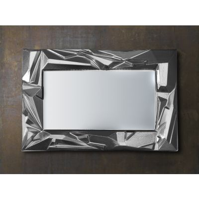 photo Miroir contour en verre moulé finition argent L90