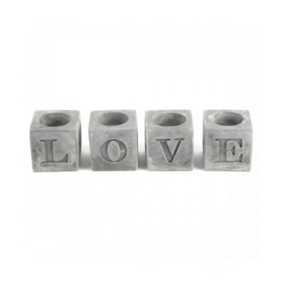 photo Set 4 porte bougies love 24x6cm
