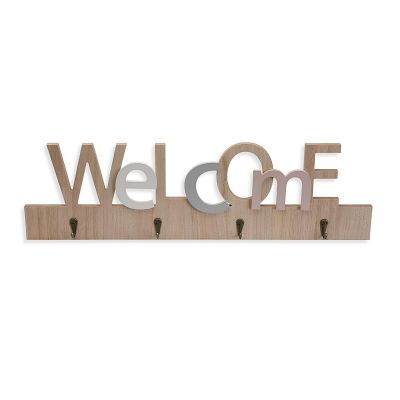 photo Support Clef Mural en bois Welcome